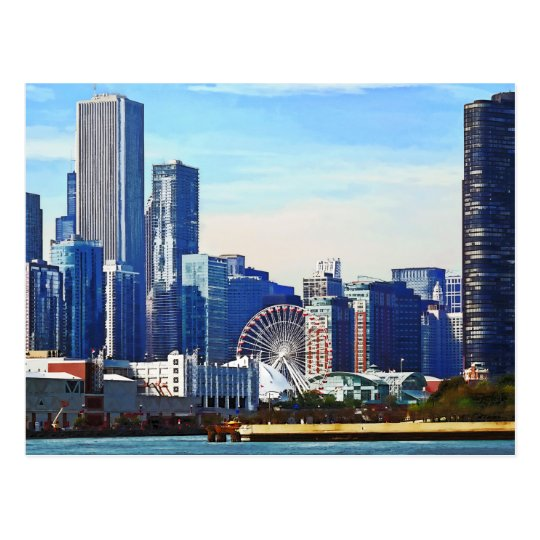 Chicago IL - Chicago Skyline and Navy Pier Postcard