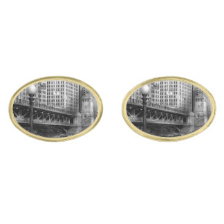 Chicago, IL - DuSable Bridge built in 1920  - BW Gold Finish Cufflinks