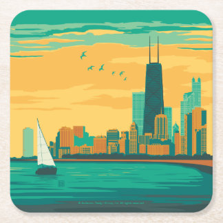 Chicago, IL - Enjoy the Lakefront Square Paper Coaster