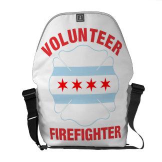 Chicago, IL Flag Volunteer Firefighter Cross Messenger Bags