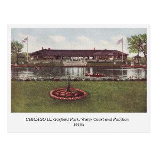 Chicago IL, Garfield Park, Water Court postcard