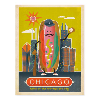Chicago, IL - Hot Dog Postcard
