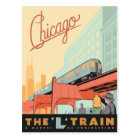 Chicago, IL - 'L' Train Postcard
