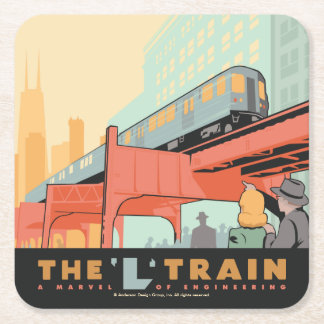 Chicago, IL - 'L' Train Square Paper Coaster