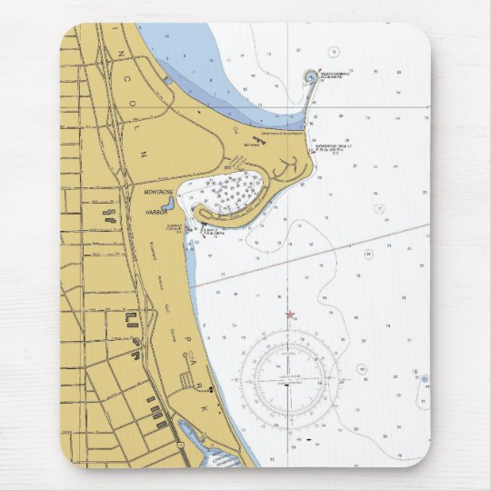 Chicago IL Montrose Harbour Nautical Chart Mouse Mat