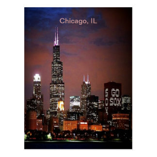 Chicago, IL Night Skyline Postcard
