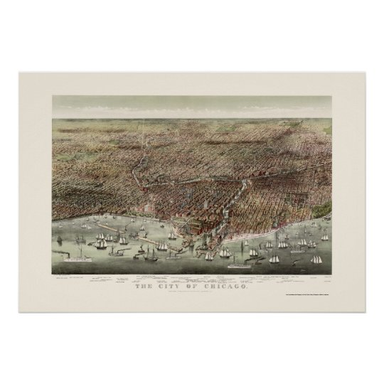 Chicago, IL Panoramic Map - 1892b Poster