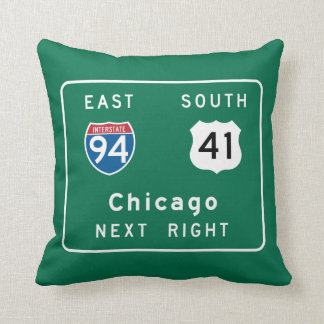 Chicago, IL Road Sign Cushion