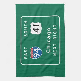 Chicago, IL Road Sign Tea Towel