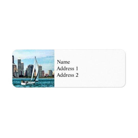 Chicago IL - Sailboat Against Chicago Skyline