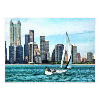 Chicago IL - Sailboat Against Chicago Skyline 13 Cm X 18 Cm Invitation Card