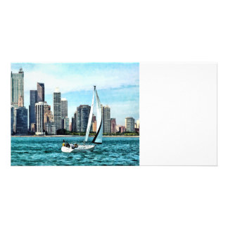 Chicago IL - Sailboat Against Chicago Skyline Photo Card Template