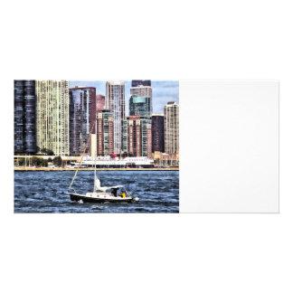 Chicago IL - Sailing on Lake Michigan Photo Card Template