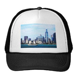Chicago IL - Schooner Against Chicago Skyline Trucker Hats
