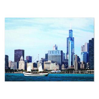 Chicago IL - Schooner Against Chicago Skyline Cards