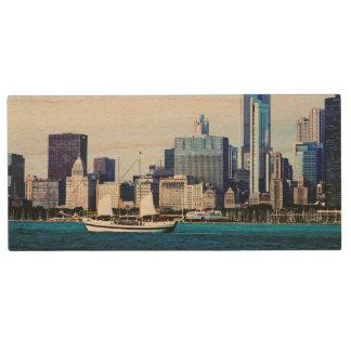 Chicago IL - Schooner Against Chicago Skyline Wood USB 2.0 Flash Drive