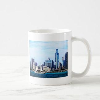 Chicago IL - Schooner Against Chicago Skyline Coffee Mugs
