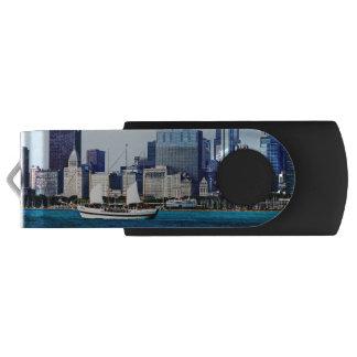 Chicago IL - Schooner Against Chicago Skyline Swivel USB 2.0 Flash Drive