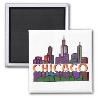 Chicago  IL Square Magnet