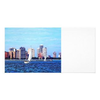 Chicago IL - Two Sailboats by Chicago Skyline Personalized Photo Card