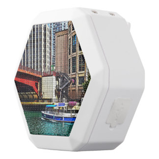 Chicago IL - Water Taxi by Columbus Drive Bridge White Boombot Rex Bluetooth Speaker