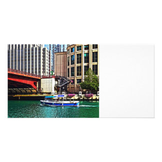 Chicago IL - Water Taxi by Columbus Drive Bridge Personalised Photo Card