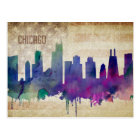 Chicago, IL | Watercolor City Skyline Postcard