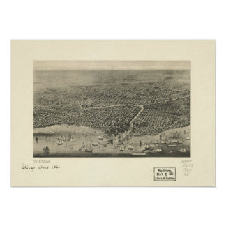 Chicago Illinois 1860 Antique Panoramic Map Posters