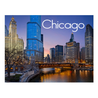 Chicago, Illinois At Night United States Postcard
