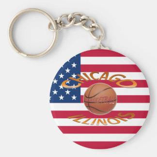 Chicago ILLINOIS Basketball Basic Round Button Key Ring