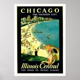 Chicago Illinois Beach Vintage Travel Print