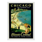 Chicago Illinois Beach Vintage Travel Poster