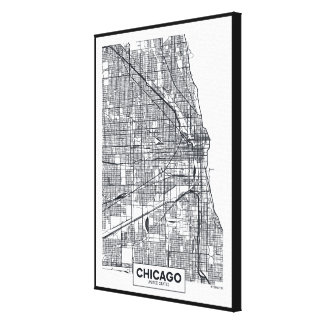 Chicago, Illinois | Black and White City Map Canvas Print