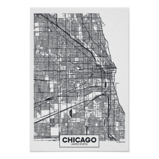 Chicago, Illinois | Black and White City Map Poster