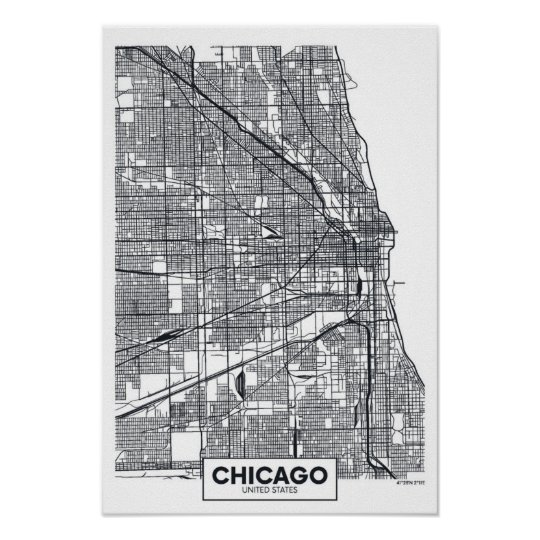 Chicago, Illinois | Black and White City Map