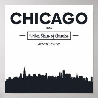 Chicago, Illinois | City Coordinates Poster