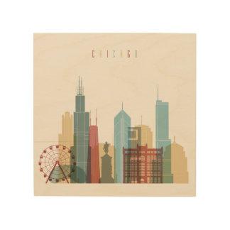 Chicago,Illinois | City Skyline Wood Print