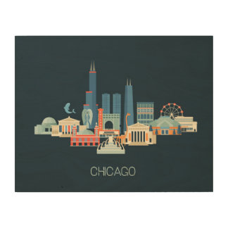Chicago, Illinois   Design in Blue Wood Wall Decor