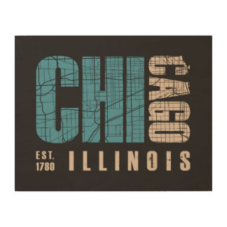 Chicago, Illinois   Graphic Map Wood Wall Art