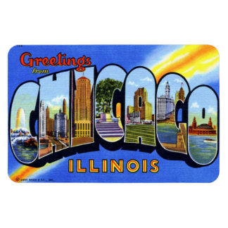 Chicago Illinois IL Large Letter Postcard Magnet