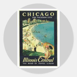 Chicago Illinois IL US Vintage Classic Round Sticker