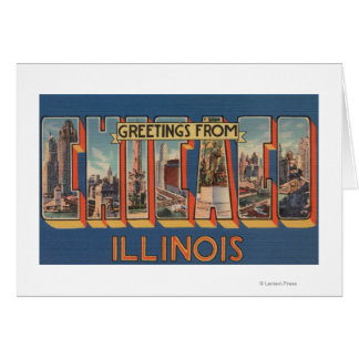 Chicago, Illinois - Large Letter Scenes 2 Card