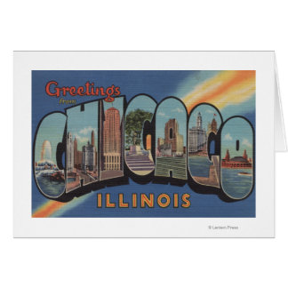 Chicago, Illinois - Large Letter Scenes Card