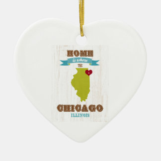 Chicago, Illinois Map – Home Is Where The Heart Is Ceramic Heart Decoration