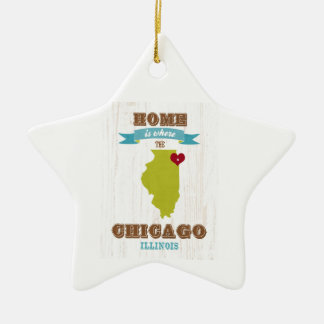 Chicago, Illinois Map – Home Is Where The Heart Is Christmas Ornament