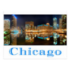 Chicago Illinois Night Skyline Travel Post Card