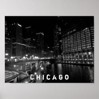 Chicago Illinois Night View Black & White Poster