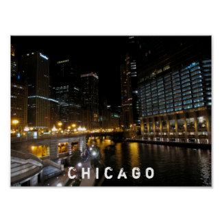 Chicago Illinois Night View Poster
