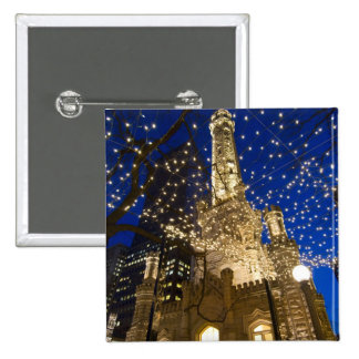 Chicago, Illinois, Old Water Tower with holiday Pinback Button