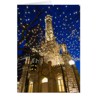 Chicago, Illinois, Old Water Tower with holiday Card